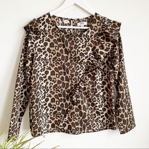 Kensie Jeans Animal Print Ruffle Blouse Size S